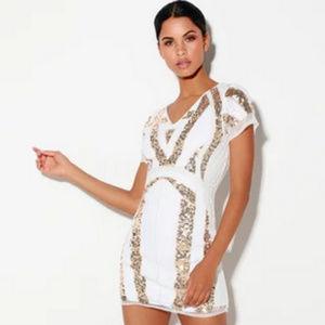Lulu's Shine All Night Gold & White Sequin Bodycon
